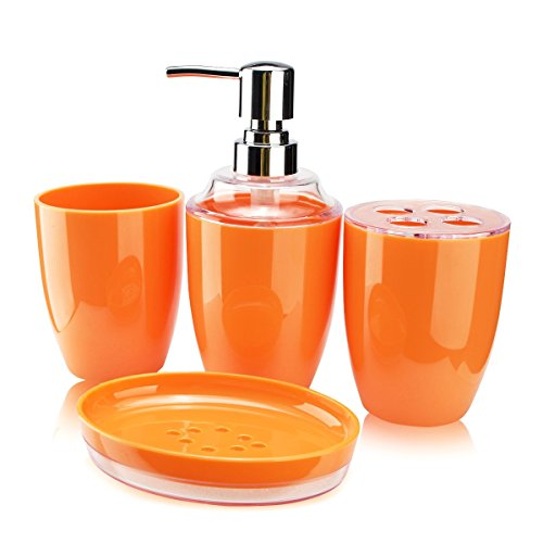 Pansdore 4 piece bath accessory set bathroom accessories collection set soap pump toothbrush for Anna s linens bathroom accessories