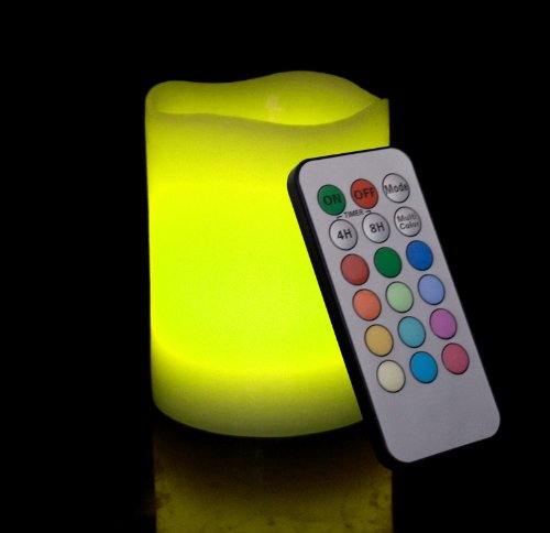 Round Melted Edge Remote Controlled Multi Color Changing Flameless Wax Pillar Candle, Made With Real Wax, 4 Inch Tall