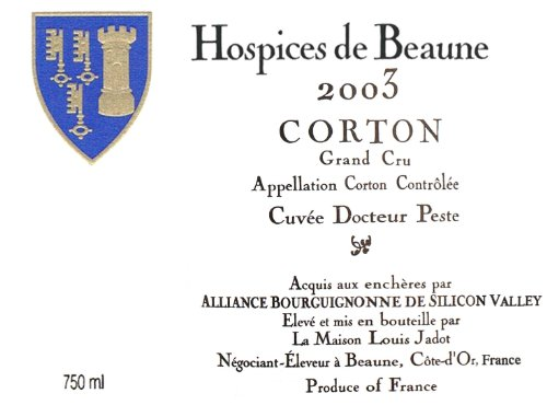 2003 Hospices De Beaune Corton Cuvée Dr. Peste Grand Cru 750 Ml
