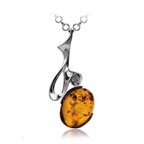 Sterling Silver Honey Amber Modern Pendant Necklace , 18