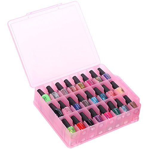 MAKARTT 48 Compartment See-Through Nail Polish Holder - Pink (Nail Polish Travel Bag compare prices)