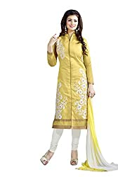 Style Amaze Chanderi Yellow Dress Material