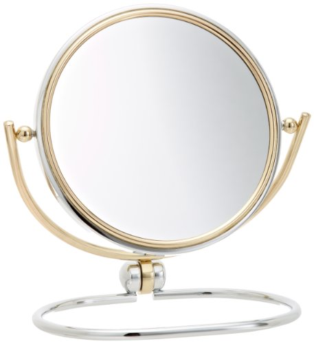 Jerdon MC229CG 5 5-Inch Folding Two-Sided Swivel Travel Mirror with 7x Magnification Chrome and Brass FinishB0000AFUTL