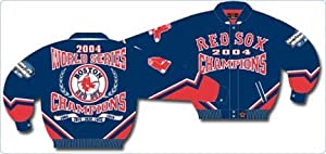 Boston Red Sox 2004 World Series Champions Wool Jacket With Leather Sleeves And... by JH Design Group