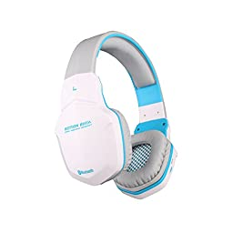 VersionTech White & Blue EACH B3505 Professional Bluetooth 4.0 3.5mm Audio Output PC Gaming Stereo Noise-Isolation Headset Headphone Earphones For Laptop Computer iPhone 6 iPhone 6 Plus 5S 5C 4S Samsung Galaxy S5 S4 Note 4 LG Flex 2 1 Android Smart Cell p