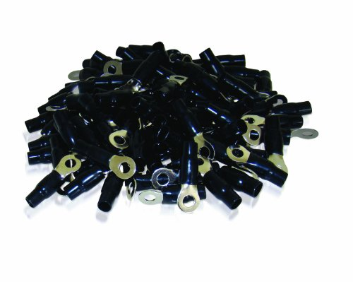XS Power RT4S-BK-100PK 8.5mm Screw Hole Nickel Finish 4 AWG Crimp Terminal with Black Boot, (Pack of 100)