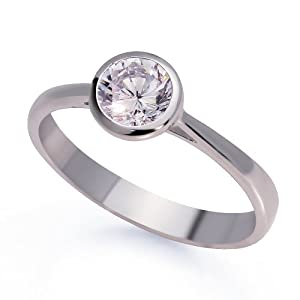 Amazon Rhodium Plated Sterling Silver Round 1 Carat CZ Bezel Set Solitaire Engagement Ring