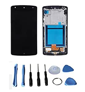 eInc™ Touch Screen Digitizer LCD Display with Bezel Frame Assembly and Tools for Google LG Nexus 5 D820 D821 (Black)