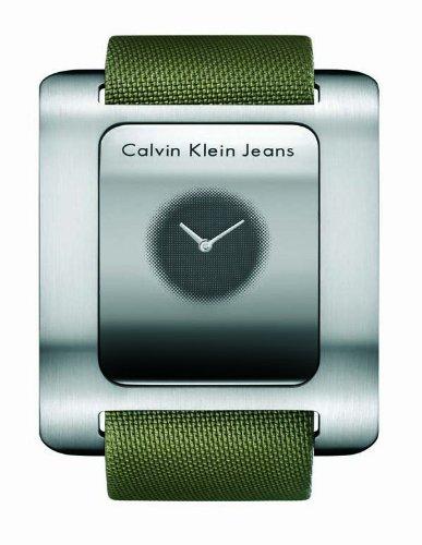 Calvin Klein K3715679 - Reloj de mujer de cuarzo, correa de textil color verde