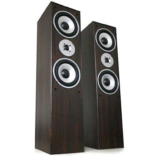 Beng 3-Wege Bassreflex-Boxen Stereo Standlautsprecher Standboxen mit Sidefiring Subwoofer (880W, 20 Hz - 20 kHz) Paar Kastanienbraun