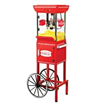 Nostalgia Electrics CCP399COKE Coca Cola Series 48-Inch Old Fashioned Movie Time Popcorn Cart