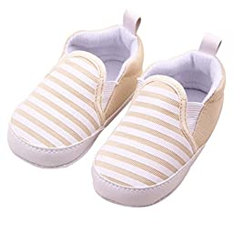 Voberry® Baby Boys Girls Toddlers Striped Sneakers Soft Sole Anti-slip Outdoor Canvas Shoes (0~6 Month, Khaki)