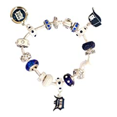 Detroit Tigers Large Hole Bead Bracelet Fits Wrist Size ~ 6 1 4 - 6 1 2 by Final Touch Gifts