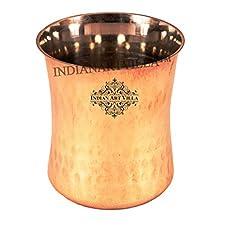 IndianArtVilla 3.8 X 3.0 Steel Copper Hammered Glass Goblet 250 ML - Drinkware Home Hotel Restaurant Good Health Benefit Yoga