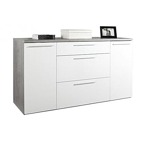 AVANTI TRENDSTORE - Comó in imitazione di cemento/bianco, ca. 160x86x45cm