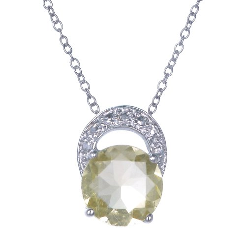 Lemon Quartz Pendant In Sterling Silver With 18