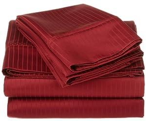 1000 Thread Count Egyptian Cotton Stripe Sheet Set Color: Burgundy, Size: Full