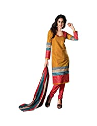 Sonal Trendz Yellow Color Pure Cotton Printed Dress Material.