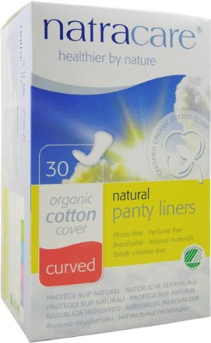 Natracare Organic Cotton Natural Panty Liners Curved -- 30 Pads
