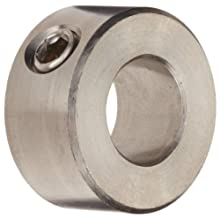 "Climax Metal CRC-043-S Shaft Collar, One Piece, Set Screw Style, 316 Stainless Steel, 7/16"" Bore, 7/8"" OD, 7/16"" Width, With 1/4-20 x 1/4 Set Screw"