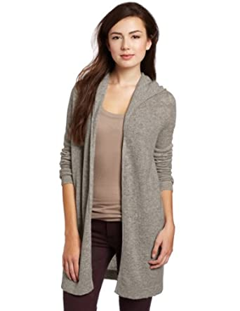 Christopher Fischer Women's 100% Cashmere Solid Featherweight Hooded Sweater, Birch Heather, Medium