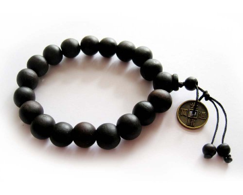 Ovalbuy 11mm Wood Beads Buddhist Prayer Wrist Mala Bracelet