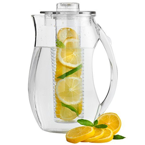 VonShef 2.7L Plastic Fruit Infusion Pitcher Jug. Infusion Core for Fruit Flavoured water and Iced Drinks (Infusion Water Jug With compare prices)