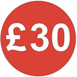Audioprint Lot. 50000Lot de £30Prix Autocollants 30mm rouge