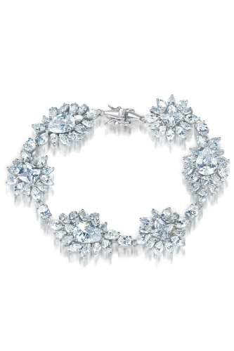 Ofelia's 925 Sterling Silver Bracelet Pear Shaped CZ Half Bezel w/ Alternating Princess Cut CZ - Incl. ClassicDiamondHouse Free Gift Box & Cleaning Cloth