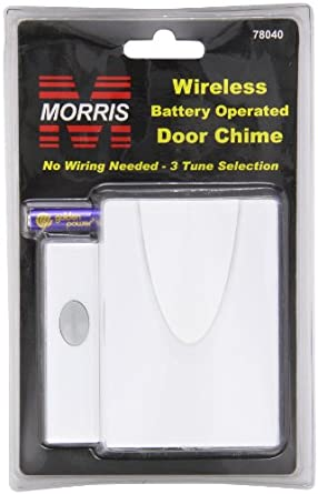 Morris Products 78040 Wireless Battery Powered Door Chime Kit, Wireless Chime with Pushbutton
