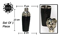 King International Stainless Steel Black leather Cocktail shaker Set of 1 Piece,(750 ml)