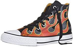 Converse Chuck Taylor Hi Flame Boys Shoes Black/red 12 M