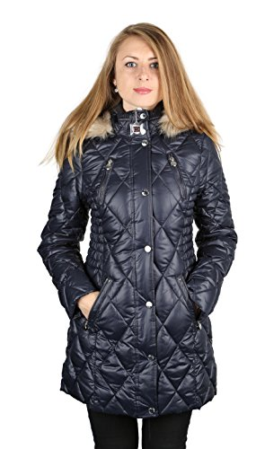 a59901160a8 Laundry By Design Blue Water Resistant Puffer Coat Parka Hooded Faux Fur (L)