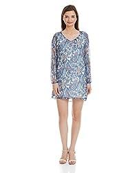NUN Women's Shift Dress (NUNDR5005_Blue_L)