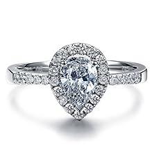 buy Pear Shape Moissanite Engagement Ring Forever Brilliant With Diamond 14K Gold Or Platinum Diamond Ring Handmade