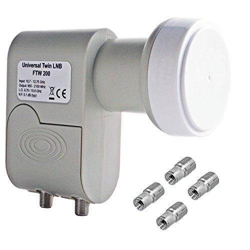 Tête lNB universelle tWIN-parabole satellite numérique fTW200 inc 0,1 dB seulement 160 mA consommation sky hD hDTV hD 3D 4 fiches technofox