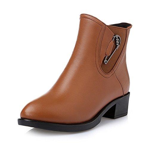 Autunno/inverno pesante di femminile in pelle stivali scarpe con testa tonda Martin comodi stivaletti donna stivali , brown , 37