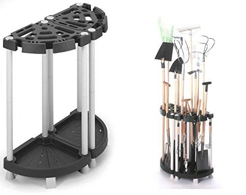 Variabler Gartengerätehalter aus robustem Kunststoff in Schwarz / Grau. Teilbar als Eck- oder Wandlösung. Für viele Geräte, wie Besen, Spaten, Rechen, u.v.m. Maße: 73 x 37,5 x 77,5 cm