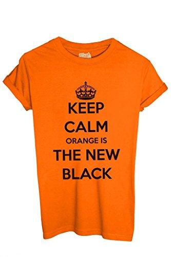 T-Shirt KEEP CALM ORANGE IS THE NEW BLACK - FILM by iMage Dress Your Style - Uomo-M-ARANCIONE