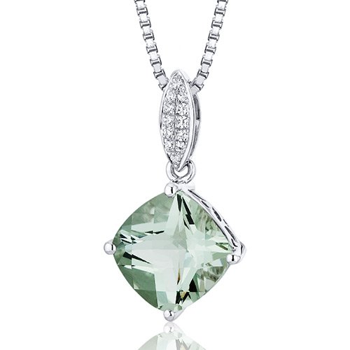 Revoni Pave Set 2.75 carats Cushion Cut Sterling Silver Green Amethyst Pendant