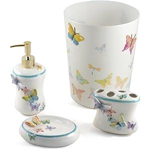 Amazon Com Fluttering Butterflies 5 Piece Bathroom