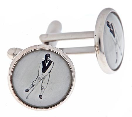 JJ Weston silver plated cufflinks with a black and white image of a golfer golf with presentation box. Made in the U.S.A