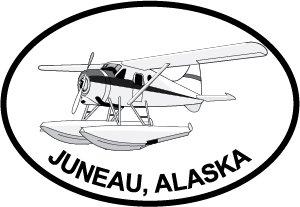 Juneau Bush Pilot Euro Oval Bumper Sticker (Universal Bush Bumper compare prices)