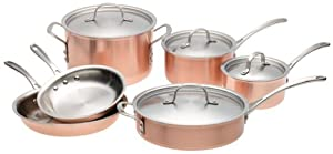 Amazon Com Calphalon Tri Ply Copper 10 Piece Set Copper