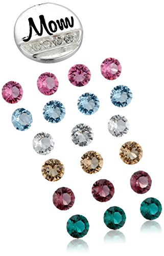 "Charmed Lockets ""Mom"" Multi-Color Swarovski Crystal Charm Locket Necklace, 24"""