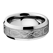 buy 8Mm Flat Celtic Dragon Pattern Men'S Cobalt Free Tungsten Carbide Comfort Fit Wedding Band Ring (Size 7 To 15)