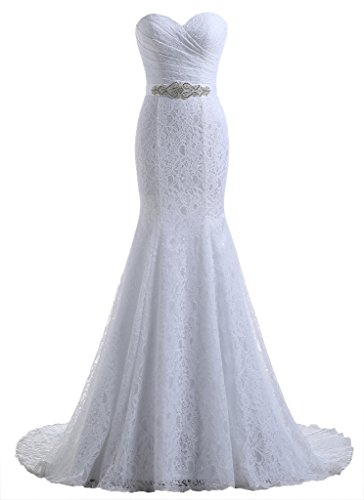 Beautyprom Women's Lace Mermaid Bridal Wedding Dresses White US12