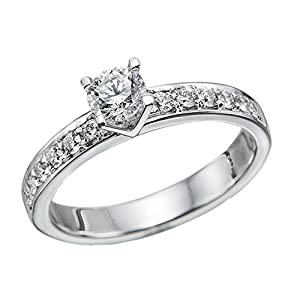 IGI Certified 14k white-gold Round Cut Diamond Engagement Ring (0.84 cttw, G Color, I1 Clarity)