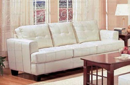 Cream Classic Leather Sofa Couch