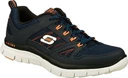Skechers Sport Men\'s Flex Advantage Memory Foam Training Shoe,Navy/Orange,10 M US